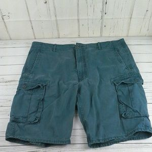 """Levi's 11"""" Cargo Shorts Teal Button Zip Fly Sz 42"""
